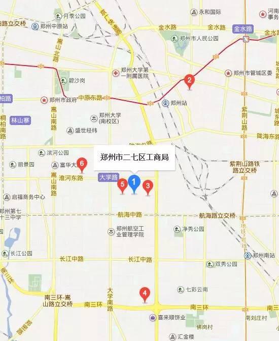 郑州二七区工商局地图位置