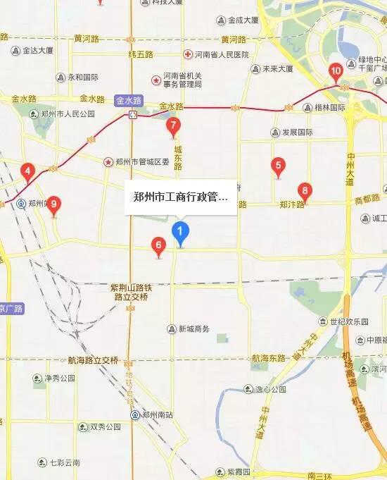 郑州管城区工商局地图位置