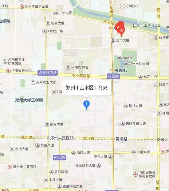 郑州金水区工商局地图位置