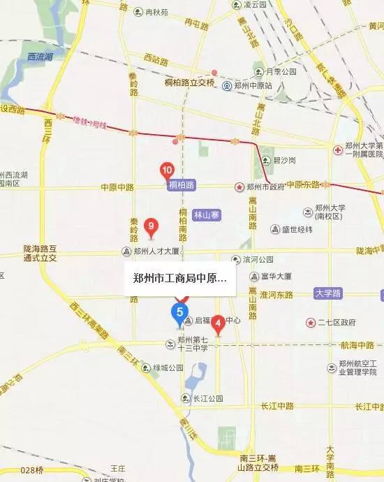 郑州中原区工商局地图位置