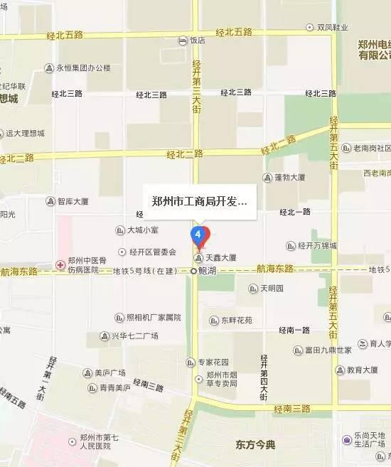 郑州经济开发区工商局地图位置